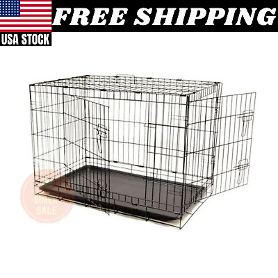 $67.99 • Buy Dog Crate 36x23x26  Large 2 Door Pet Kennel Cage Folding Portable Travel Metal