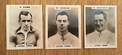 £6 • Buy 3 Cigarette Cards Luton Players By Godfrey Phillips 1922 Footballers Pinnace