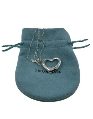 "$43.88 • Buy Tiffany & Co. Elsa Peretti Large Open Heart Pendant W/ 16"" Necklace"