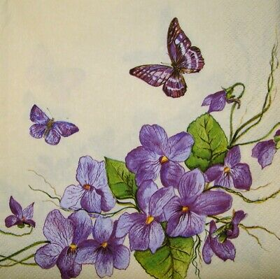 4 X Single Paper Napkins Decoupage Craft Table Violet Spring Flowers 310 • 1£