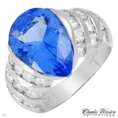 $20.64 • Buy Blue Pear-Shape CZ CHARLES WINSTON Cocktail Ring Sterling Silver Size 6.5