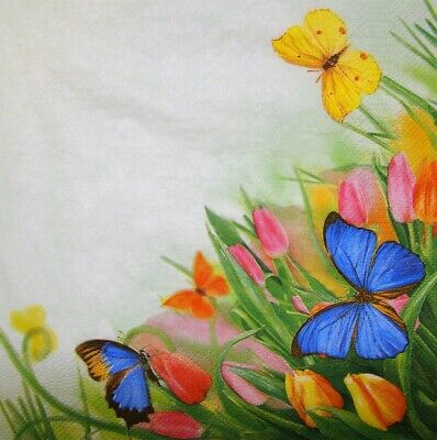 £1.35 • Buy 4 X Single Paper Napkins Decoupage Craft Table Flowers Tulip Butterfly 313