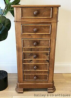 AU425 • Buy Antique French Side Drawers Cabinet Bedside Walnut Henri II Style - TA092