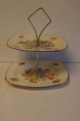 A Lovely Coronet Ware Parrot & Company Art Deco Double Cake Stand. • 14.99£