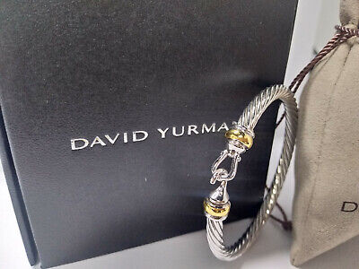 $162 • Buy DAVID YURMAN Women's Cable Buckle Bracelet With Gold 925 Sterling Silver 5mm NEW
