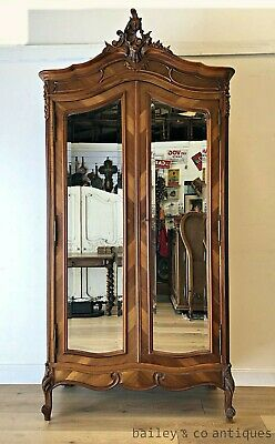 AU2275 • Buy Antique French Armoire Walnut Louis Style Mirrored Wide Bevels - RF107a