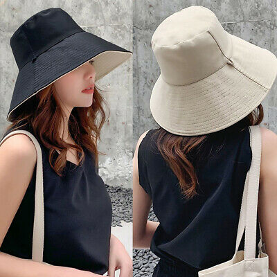 Foldable Bucket Hat Womens Double-sided Casual Fisherman Hat Outdoor Sun Caps • 5.99£