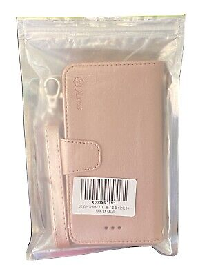UNUSED WALLET IPHONE 7/8 PLUS WITH HANDLE IN METALLIC PINK FAUX LEATHER • 10£