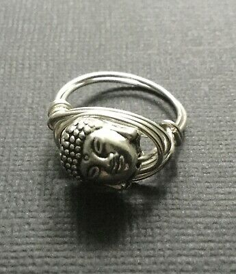 £3.49 • Buy SILVER GOLD Wire Wrap Finger Thumb RING With A BUDDHA Head Bead Boho Bijoux