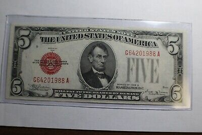 $ CDN107.40 • Buy 1928 D $5 Red Seal United States Note XF