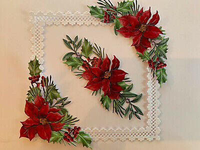 Tattered Lace Poinsettia Red  Card Toppers Die Cuts Birthday Scrapbooking • 2.60£