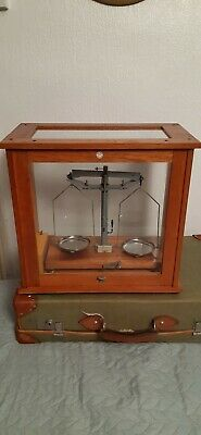 Vintage Philip Harris Science Laboratory Scales Glass Wood Case With Weights • 80£