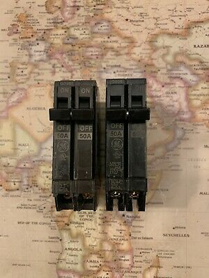 THQP250 GE Q-Line 50A 120/240V Double-Pole 1  Plug-In Circuit Breaker (LOT OF 2) • 14.25£