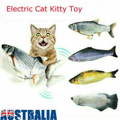 AU13.65 • Buy USB Electric Interactive Pet Cat Kitty Toy Wagging Fish Realistic Plush Catnip #