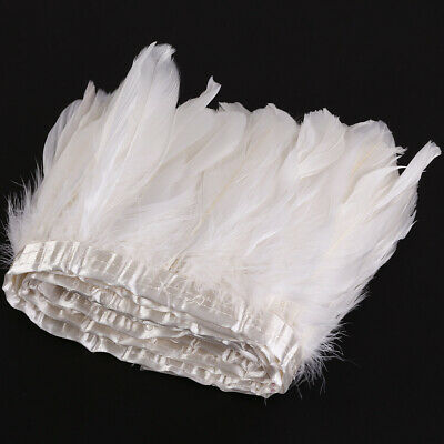 £10.98 • Buy 2m White Goose Feather Cloth Trimming Sewing Craft Ribbon Collar Shawels Fringe