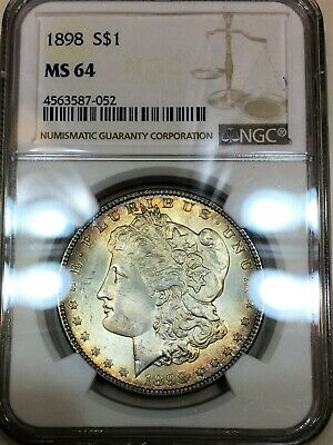 $44.41 • Buy 1898 Morgan Silver Dollar NGC MS64 Beautiful Coin Rainbow Toning