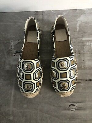 $58.88 • Buy Tory Burch 'Cecily' Sequin Gold Espadrille Flats Womens Size 5 M MSRP $198 NEW💫