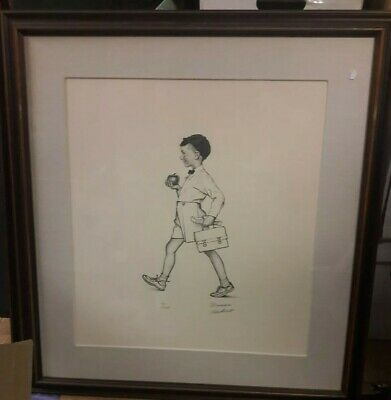 $ CDN1275.89 • Buy Norman Rockwell Framed Pencil Signed Lithograph School Boy American Family #68
