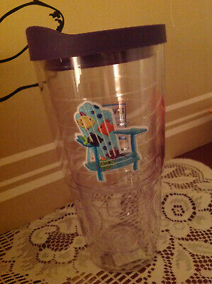$24.99 • Buy New 24 Oz .BLUE ADIRONDACK BEACH CHAIR WITH FISHES Tervis Tumbler