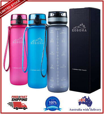 AU35.99 • Buy KOBONA 1 Litre Motivational Smart Water Bottle,Time Markings Hydration- BPA Free