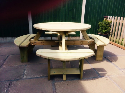 Wooden Westwood Round Picnic Table (cvpt105) • 399£