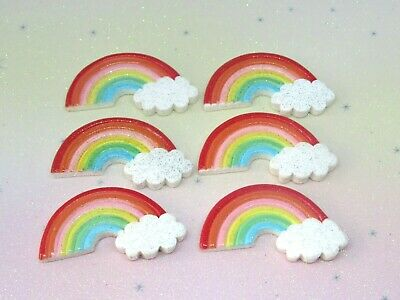 Glitter Rainbow Resin FlatBack X6 Cabochon Embellishment Decoden Craft Scrapbook • 2.99£
