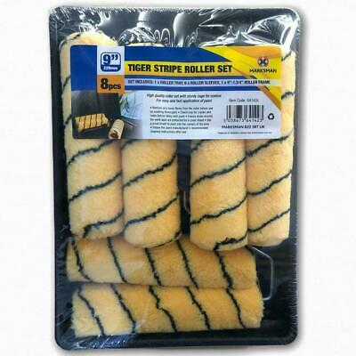 8 Piece 9  Paint Roller Set Tray, Handles With 5 Tiger Sleeve Rollers Diy 64142 • 9.99£