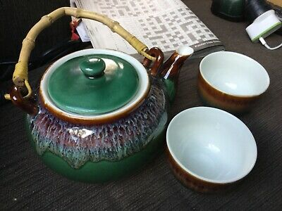 AU27.08 • Buy 3pc Handcrafted CERAMIC TEAPOT And TEACUPS Opened Never Used Unwanted Gift