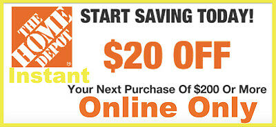 $1.80 • Buy TWO 2x Home Depot Coupon $20 OFF $200 [Online-Use Only] ~ LNSTANT~FAST~SENT-1MlN