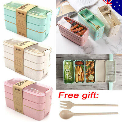 AU15.59 • Buy 900ml 3-Layer Bento Box Students Lunch Box Eco-Friendly Leakproof Food Container