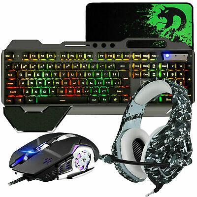 AU75.67 • Buy 4in1 For PS4 Gaming Combo RGB Backlit Gaming Keyboard And Mouse + Headset Bundle