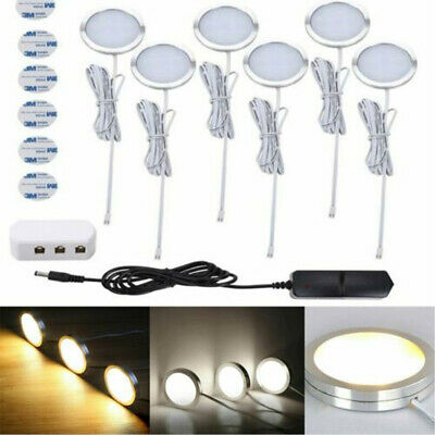 3/6PCS LED Under Cabinet Lights Kit Kitchen Counter Closet LED Puck Display Lamp • 11.89£