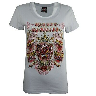 £7.99 • Buy Ladies Harley Davidson New Graphic Cotton Body Fit Tops T Shirts 166