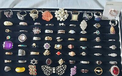 $ CDN107.50 • Buy Big Lot Vintage Modern Rings Sterling Silver 925 Pawn Costume Cameo Antique 72pc
