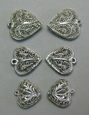 $ CDN25.84 • Buy Sterling Silver Lot Of Six Filigree Heart Charms Or Pendants