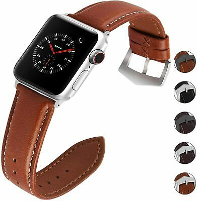 $ CDN0.99 • Buy Fullmosa Apple Watch Band/Strap Leather Brown/Silver 42mm Series 1/2/3/4/5