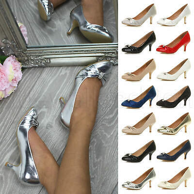 Womens Ladies Low Mid Heel Diamante Party Smart Evening Court Shoes Size • 9.99£