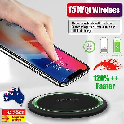 AU15.99 • Buy 15W Qi Wireless Charging Charger For Pad IPhone 11 Pro XS Max XR Samsung S9 S10+