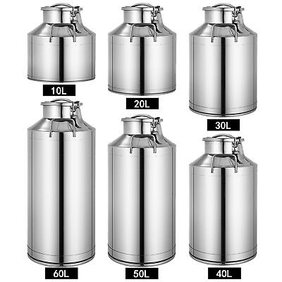 $98.99 • Buy 10L~60L 304 Stainless Steel Milk Can Wine Pail Bucket Jug Oil Barrel Canister