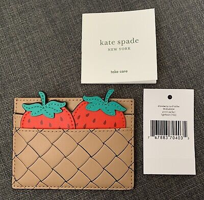 $ CDN67 • Buy NWT Kate Spade PICNIC PERFECT STRAWBERRY Leather Card Holder Case
