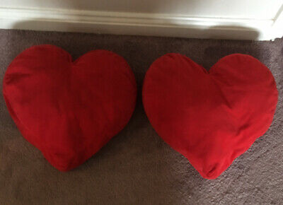 Pair Red Velvet Love Heart Cushions Sofa Bedroom Pillows Soft Bed Decor X 2 • 15£