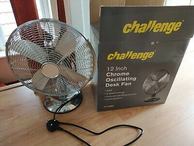 Used Challenge 12  Desk Fan, Silver..hardly Used • 30£