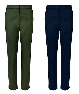 New Ex M&S Cotton Rich Tapered Slim Leg High Waist Cropped Trousers Size 6-20 • 10.99£