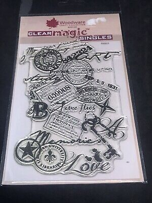 Woodware Clear Magic Singles Stamp - Memories Background Collage Franking Etc • 3.99£