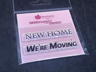 Woodware Clear Magic Singles Stamp Set - New Home We're Moving Phrases • 1.50£
