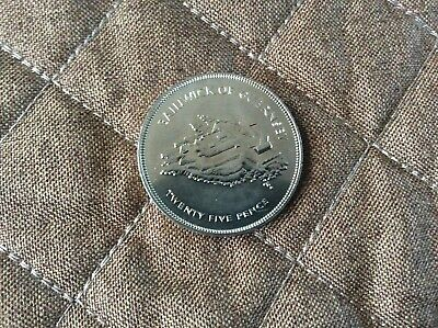1977 Bailiwick Of Guernsey 25p Crown Silver Jubilee Commemorative 1952-1977 Unc • 0.60£