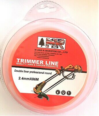 HEAVY DUTY STRIMMER DOUBLE LINE 2.4mm X 86 M PETROL,CORDED & CORDLESS WIRE CORD • 9.99£