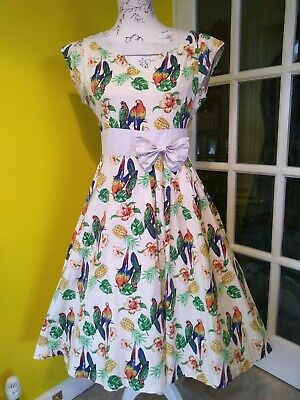 Lindy Bop Kelly Tropical Parrot & Pineapple Print Swing Dress Size 12 • 23£