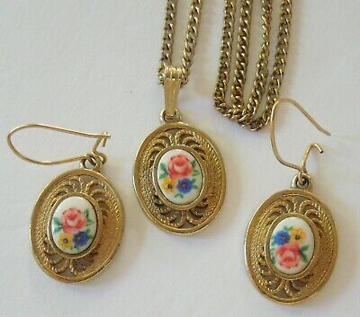 $15.99 • Buy Vintage SARAH COVENTRY Signed Flower Floral Necklace And Earring Set