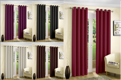 Blackout Thermal Curtains Eyelet Ring Top Curtain Pair With Tie Backs  • 15.99£